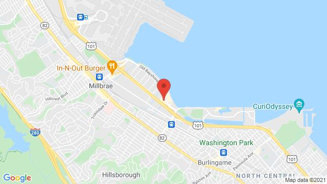 Map of the area around 1333 Old Bayshore Hwy , Burlingame, CA 94010, USA