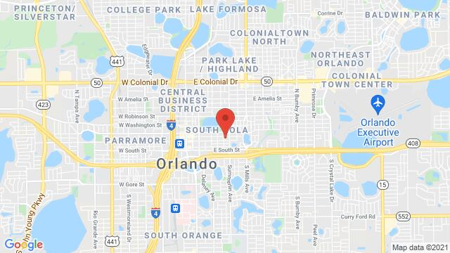 Map of the area around 101 S Eola Dr Orlando FL