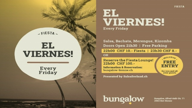 Poster for EL VIERNES! on Friday, September 24 by BUNGALOW