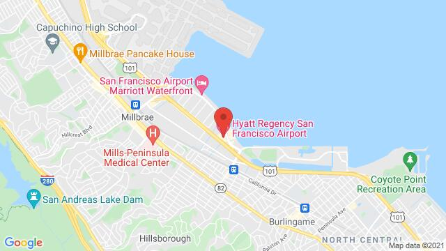 Map of the area around 1333 Old Bayshore Hwy Burlingame CA United States