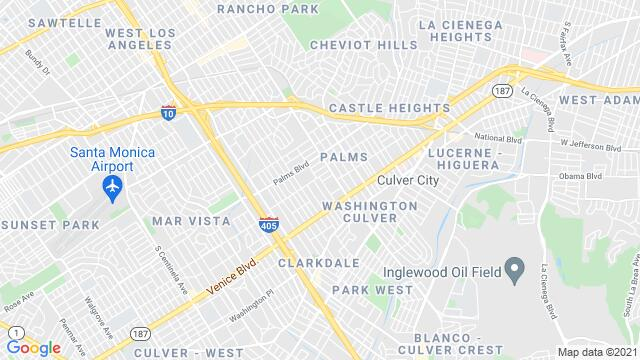 Map of the area around Los Angeles , CA, USA
