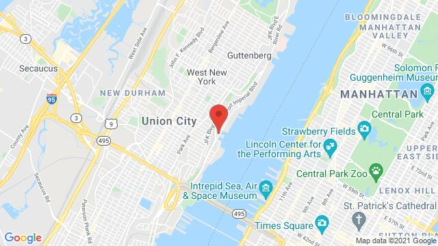 Map of the area around 550 Ave at Port Imperial Weehawken NJ United States