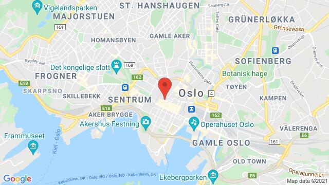 Map of the area around Karl Johans Gate 17, Oslo, Norway