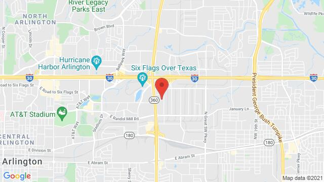 Map of the area around 701 106th St Arlington TX United States