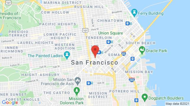 Map of the area around 1355 Market St San Francisco CA United States