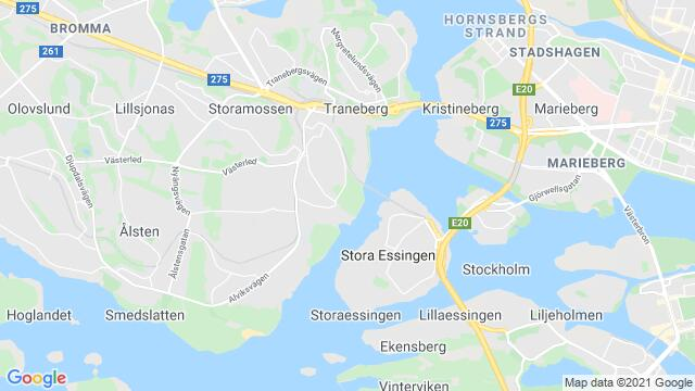 Map of the area around Stockholm , Sweden