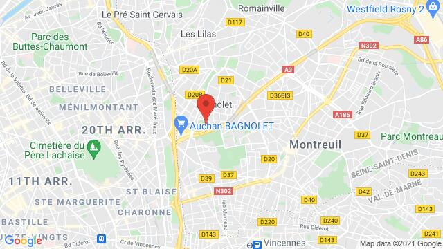 Map of the area around , 93170 Bagnolet, France