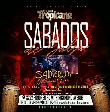 Poster for Live Salsa Saturdays at Club Tropicana on Saturday, September 25