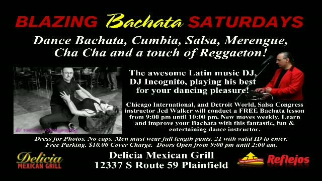 Poster for Bachata Saturdays at Delicia on Saturday, October 30.